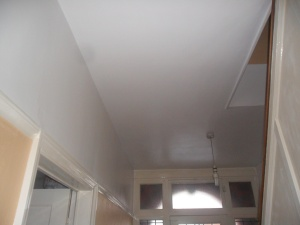 The ceiling after I painted it