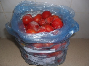 A bag of tomatoes ready for soup