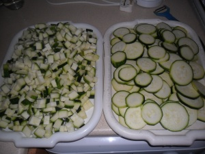 Courgettes sliced and diced ready for freezing
