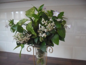 Viburnum tinus, spotted laurel and vinca flowers from my garden